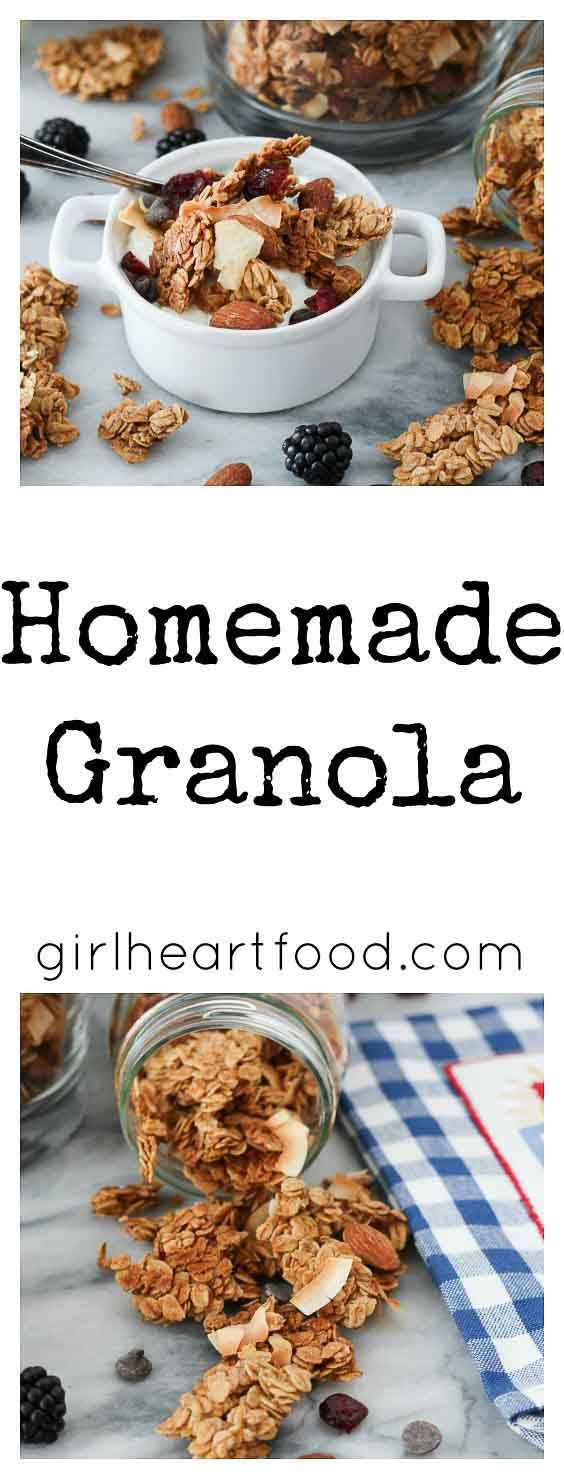 This easy homemade granola is packed with flavours of cinnamon, nutmeg and coconut. It's a delicious accompaniment to yogurt for one hearty, filling breakfast!#granola #oats #breakfast #snack #vegetarian