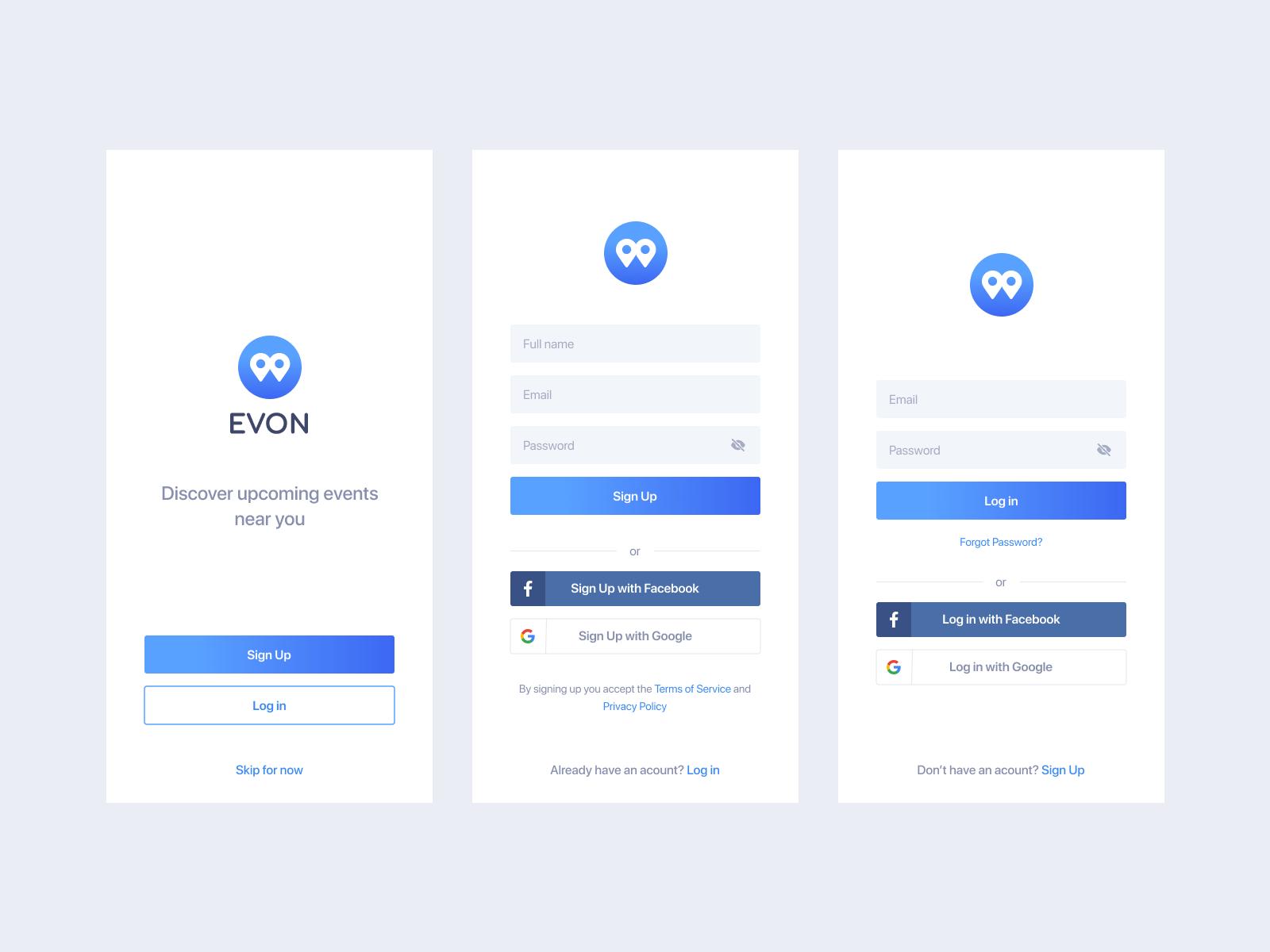 Event App Sign Up Log In Screens In 2020 Event App Ios App Design App Login