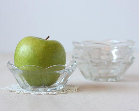 Vintage Four Dessert Bowl Set From Anchor Hocking In The Swedish Modern Pattern Bowls