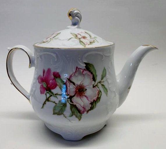 Vintage Peach Blossom teapot Bone china by BEFOREANDNOWBoutique