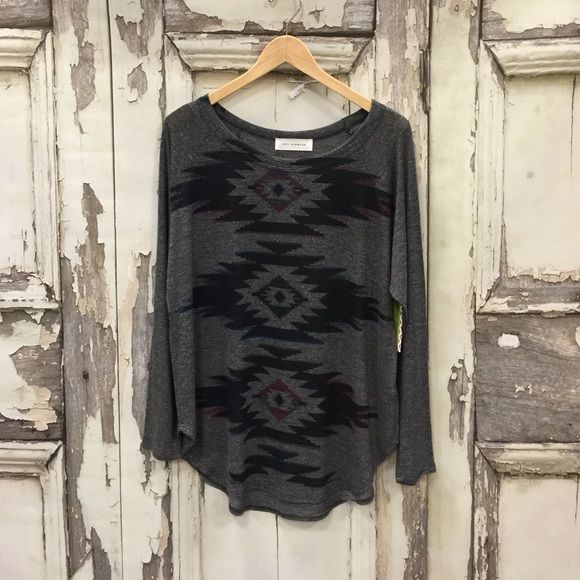 last chance Aztec printed burn out kind sleeve tee.  21% rayon  62% polyester 12% cotton. Boutique  Tops Tees - Long Sleeve