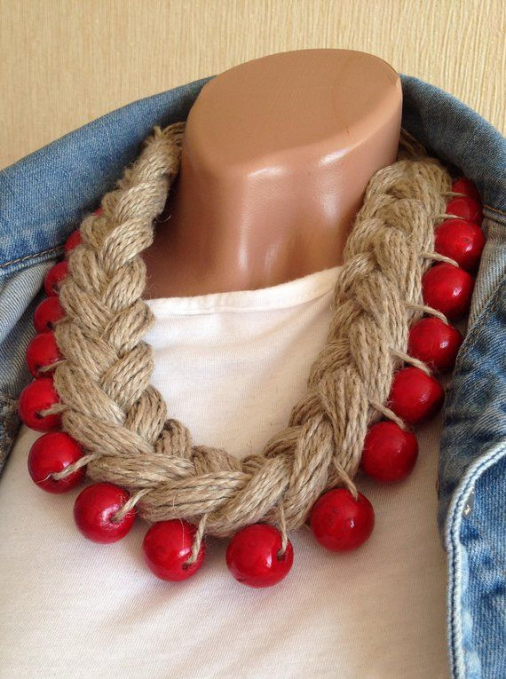 Big pigtail linen wooden beaded necklace Red brown ethnic necklace Bohemian bib necklace Wrap beads necklace Tribal yarn Chunky necklace