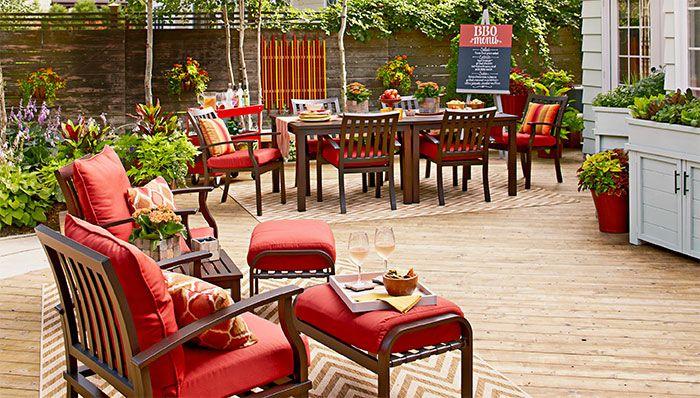 deck furniture arranged by use flower garden deck and landscape