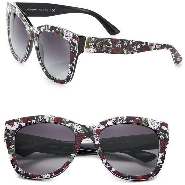 9d8727cff52c Dolce   Gabbana 55MM Square Floral Acetate Sunglasses (318 CAD) ❤ liked on  Polyvore