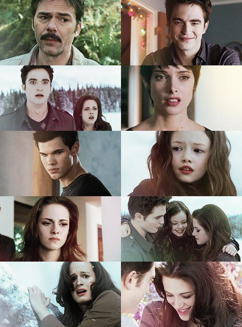 Charlie, Edward, Edward Bella, Alice, Jacob, Renesmee, Bella