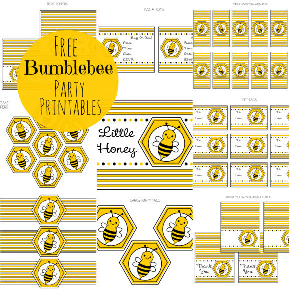 FREE Bumble Bee Party Printables from Printabelle  Party