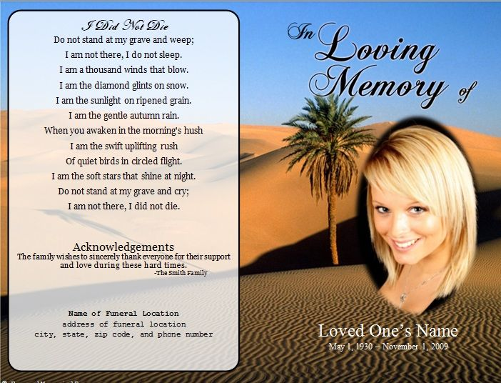 Desert Single Fold Memorial Program Funeral cards, Funeral and - funeral service announcement template