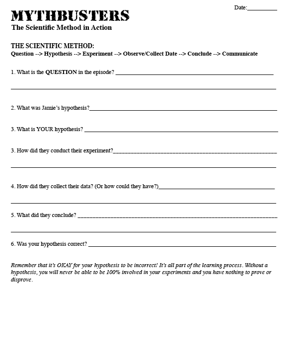 {The Science Lifeuse Mythbusters to teach scientific method – Mythbusters Scientific Method Worksheet