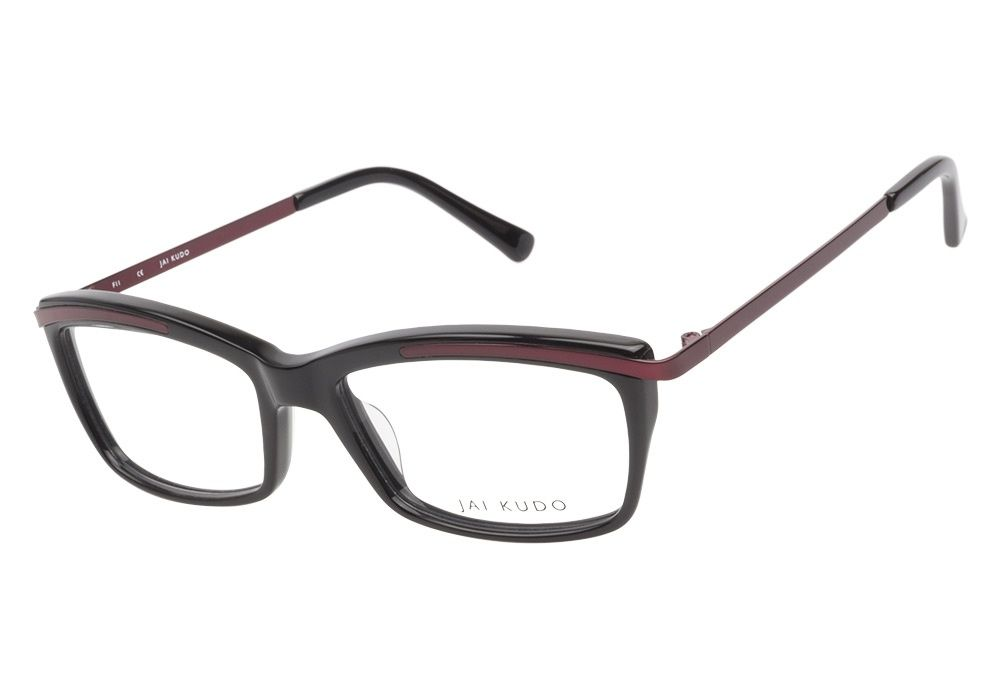 0c367ac451 Jai Kudo 1844 P01 Black Dark Red eyeglasses are sultry and sophisticated.  Rich black Italian acetate is accented by delicate metal plating in  luxurious ...