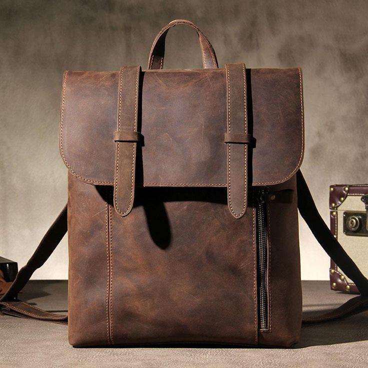 179cc48aba Handmade Genuine Vintage Brown Leather Mens Cool Backpack Shoulder Bag  Travel Bag for men--