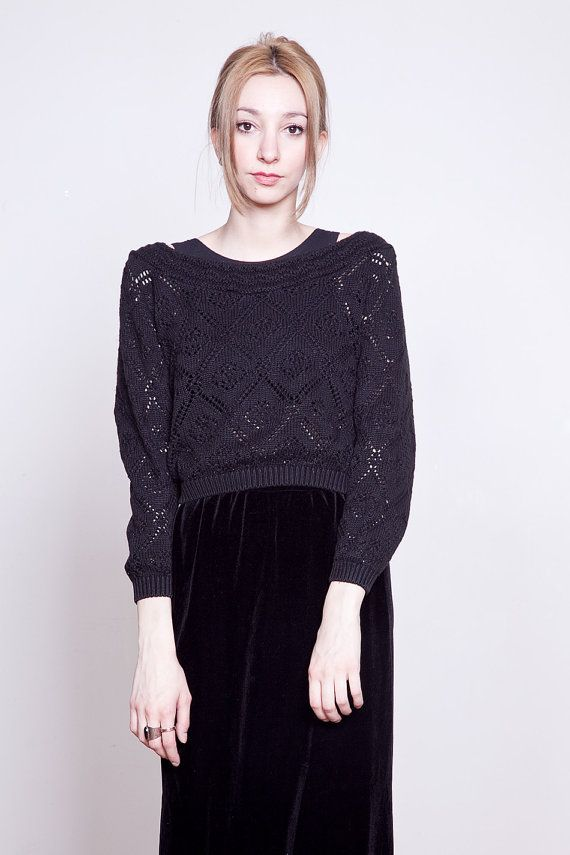90s Black Cropped Knitted Sweater SM by tarantulasisters on Etsy