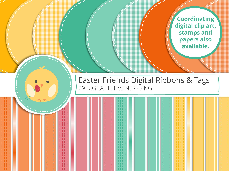 Easter chick u friends digital ribbon and tags clip art scrapbook