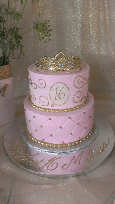 Pleasing Pink And Gold Sweet Sixteen Cake Sweet 16 Birthday Cake Sweet Personalised Birthday Cards Sponlily Jamesorg