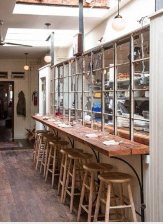 Kitchen Glass Divider Restaurant Interior Cafe Design