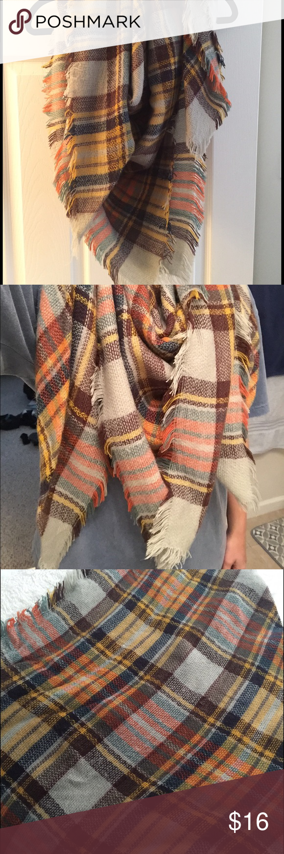 Fall Toned Blanket Scarf Popular blanket scarf! Orange, brown, yellow brown tones! Very warm and cozy and in perfect condition! Only worn once or twice. Boutique Accessories Scarves & Wraps