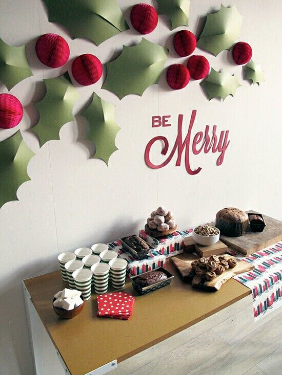 Inexpensive Office Christmas Party Ideas Part - 41: Spread Holiday Cheer With These Fun DIY Decorations! I Love Those Holly  Wall Decorations