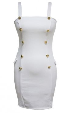 Gold Button Fly Side Mock Pocket Mini Dress in White