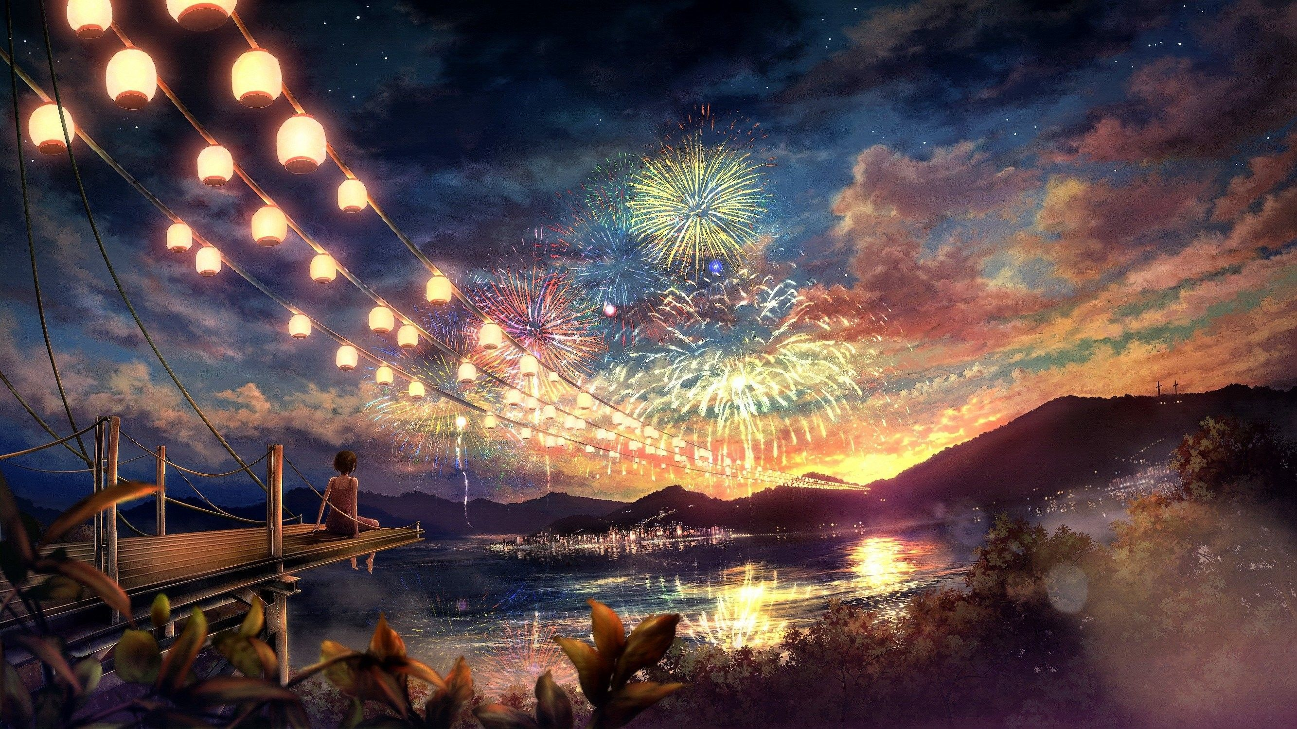 2667x1500 Night Anime Scenery High Quality Resolution