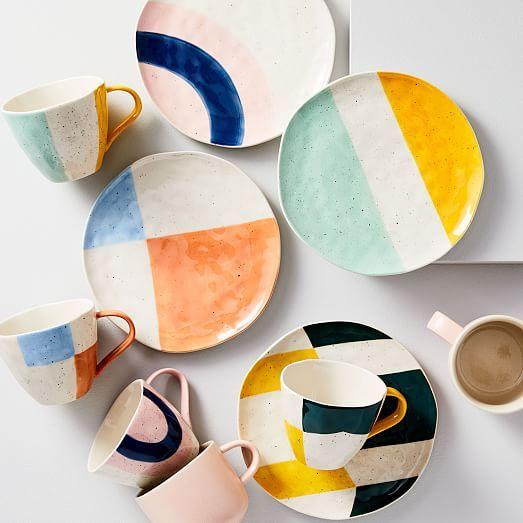 Pastel Speckle Salad Plates (Set of 4) #ceramicpainting