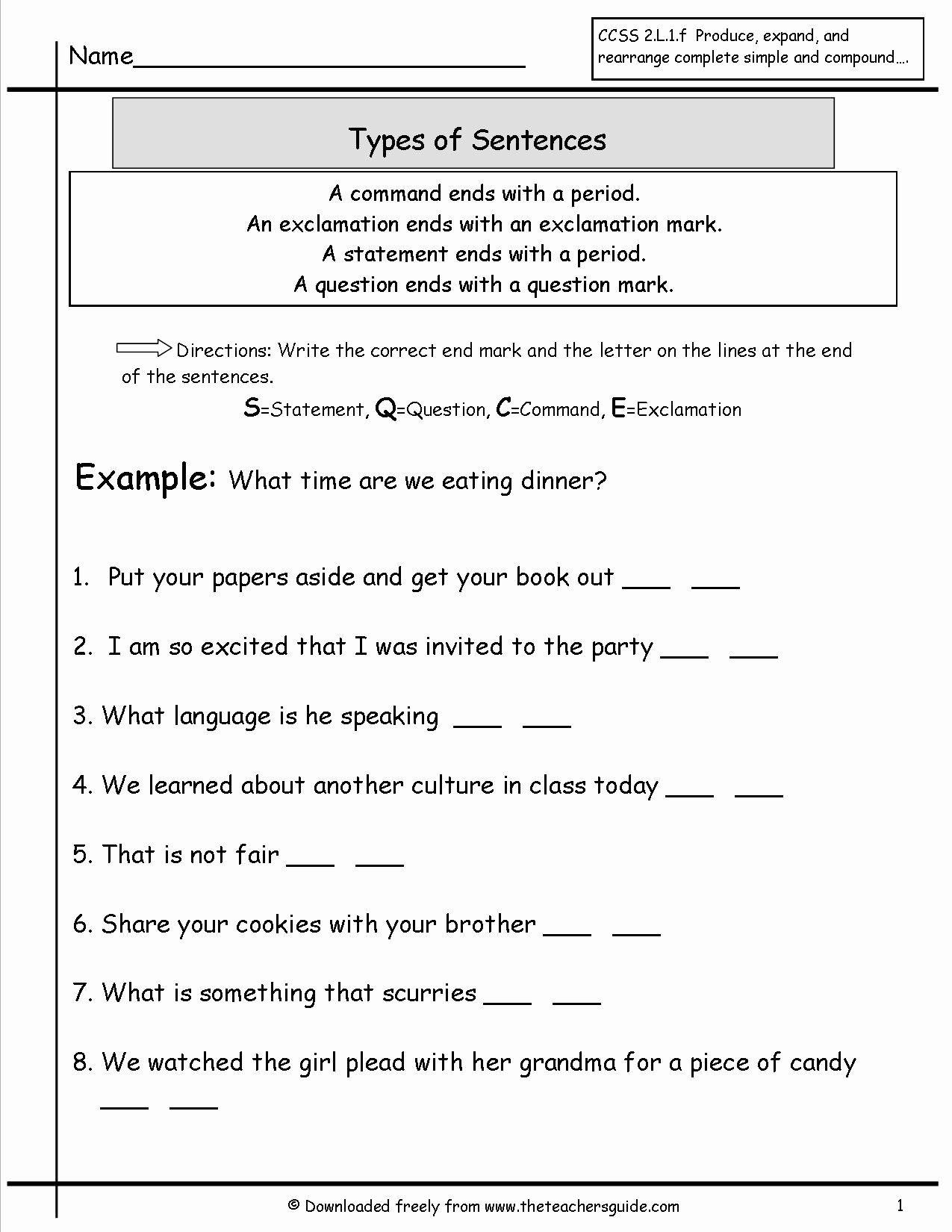 Four Types Of Sentences Worksheet Luxury Sentences