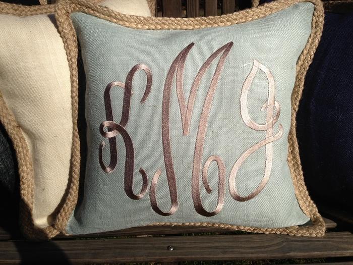 Monogram Burlap Pillow { Pink Azalea.com}