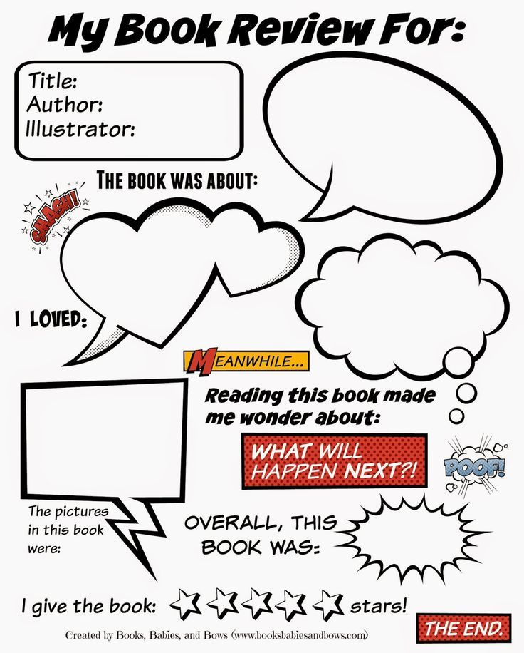 Books, Babies, and Bows Free Book Review Template for Kids - school book report template