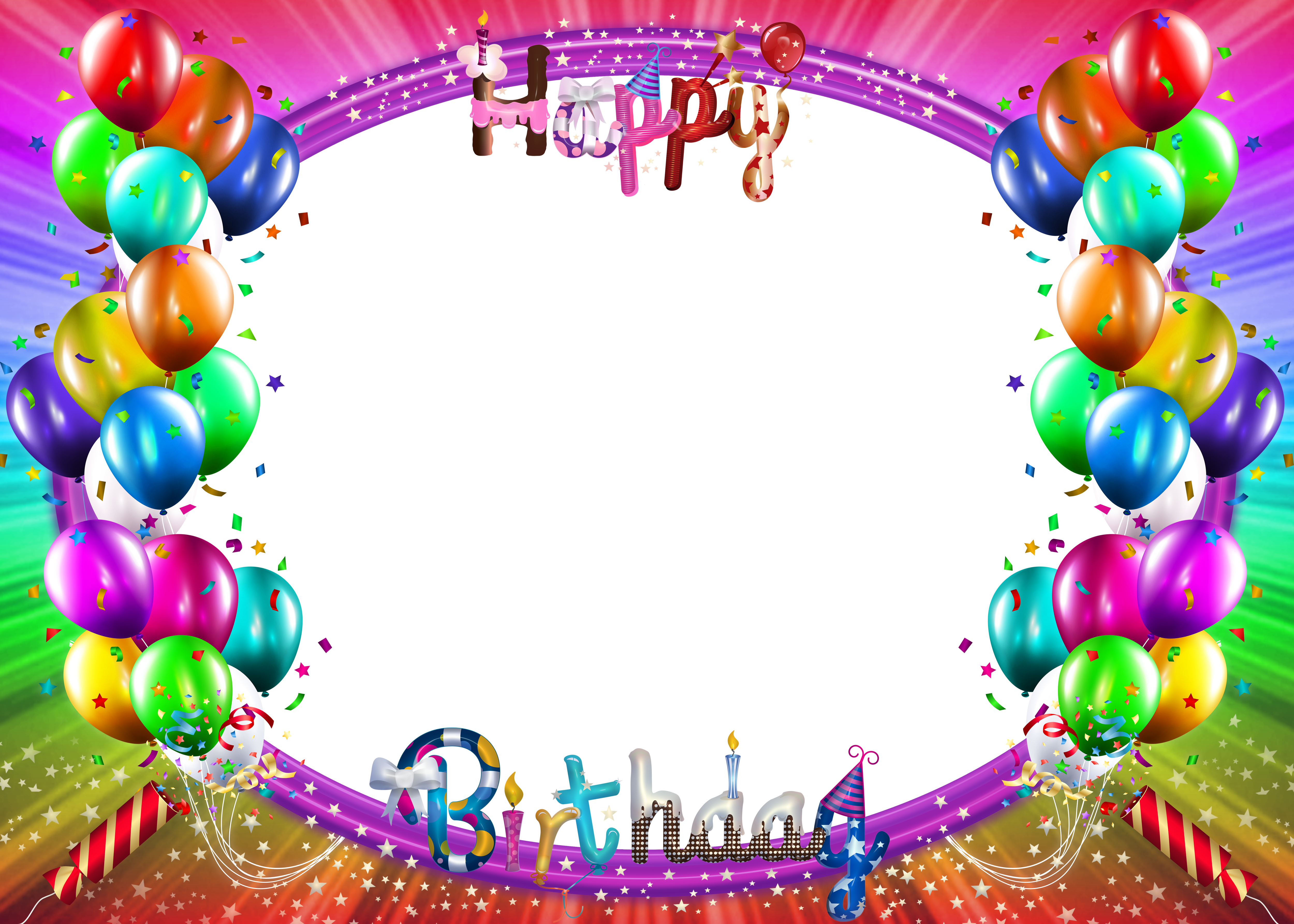 Happy Birthday Colorful Png Frame With Images Birthday Photo