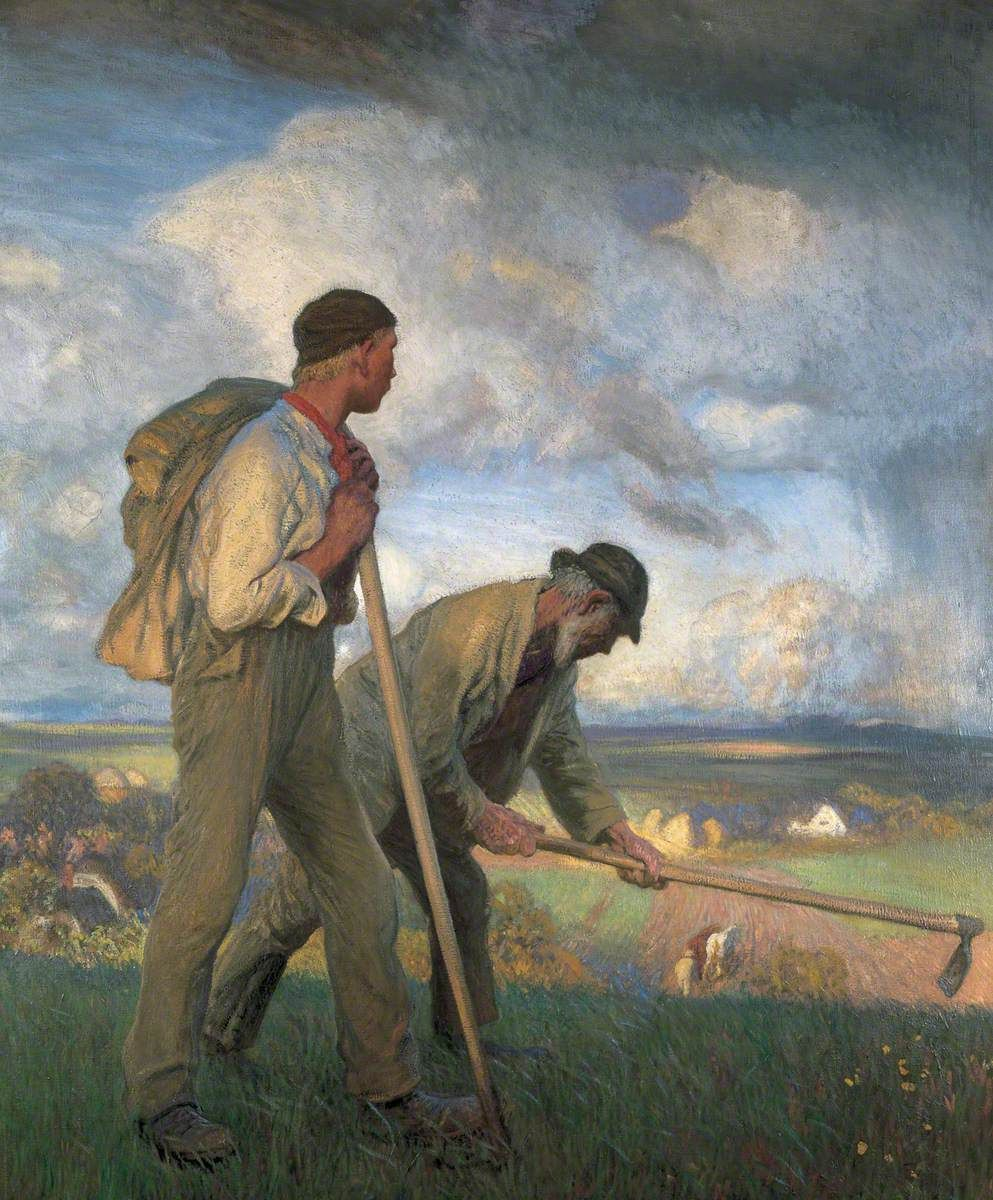 'The Boy and the Man' by artist George Clausen depicts working the summer fields as a cooling, afternoon thunderstorm threatens...
