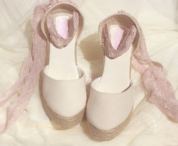 3f64b0768321f BOHOIBIZA Ivory Blush Pink Lace Up Espadrille, by IBIZENCAS dance ...