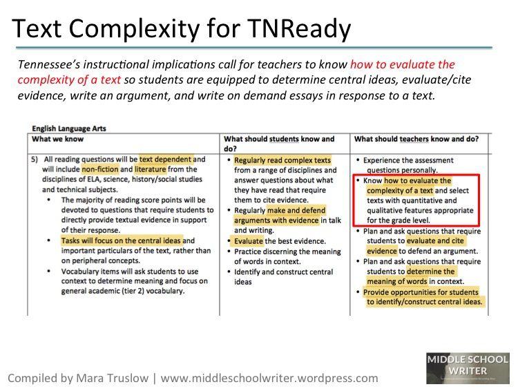 Text Complexity On Tnready Text Complexity Text Teachers