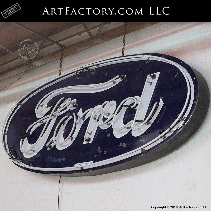 Vintage Ford Dealership Neon Sign Authentic Porcelain Automobilia Ford Classic Cars Porcelain Signs Classic Cars