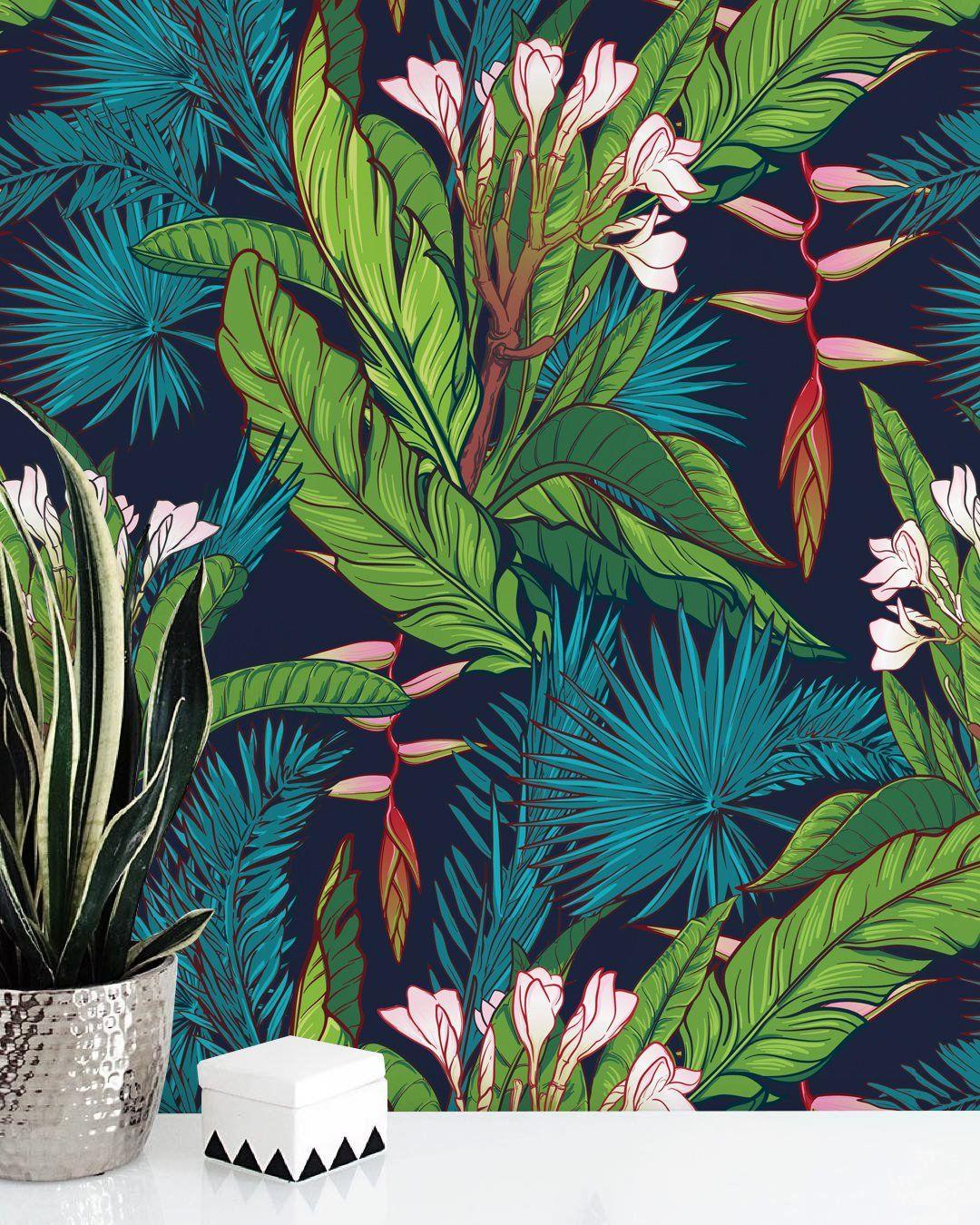 Tropical Jungle Removable Wallpaper Watercolor Wall Etsy Jungle Wallpaper Watercolor Walls Tropical Decor
