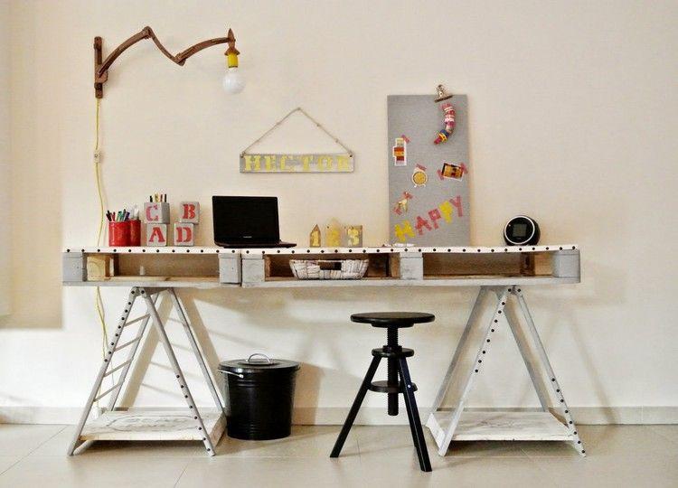 Schreibtisch selber bauen ideen aus holz europaletten