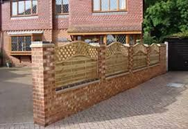 Fence Panel On Brick Wall Google Search Fence Design Wood Fence Brick And Wood