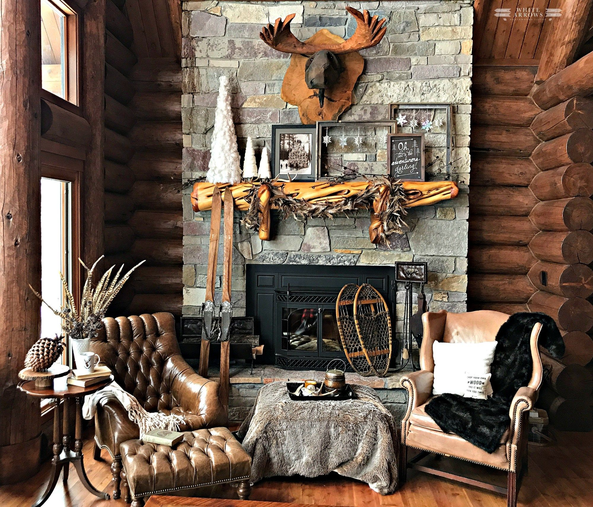 Winter neutral decor winter decor neutral decor cabin cabin decor cabin style log cabin