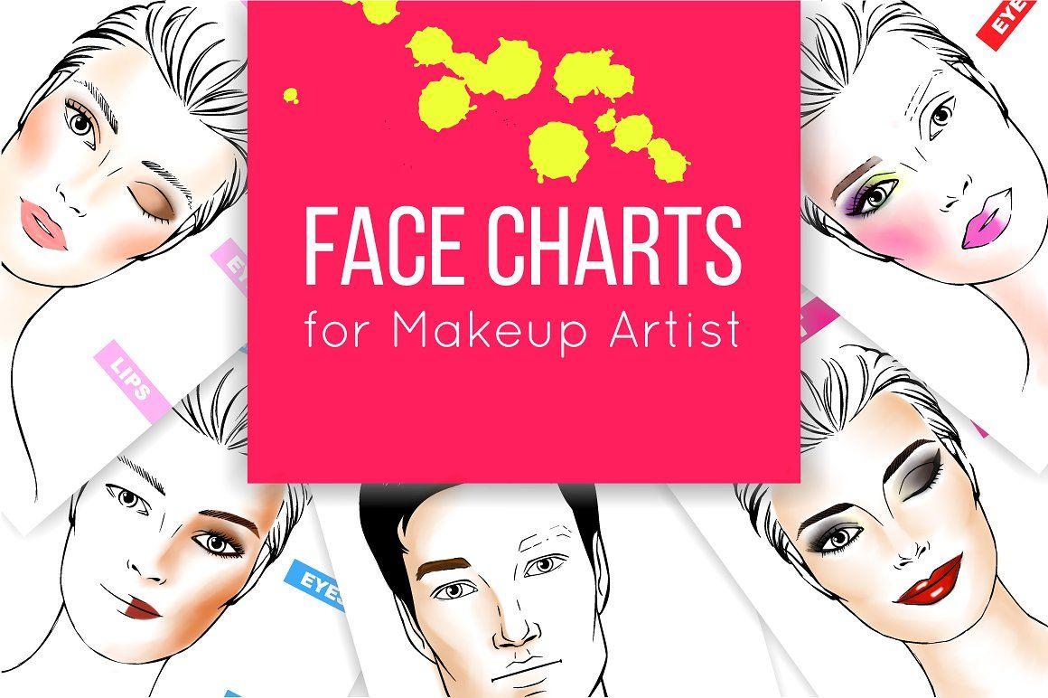 Face Chart Set Face Chart Face Female Template Blank Makeup Make Up Chart  Eye Chart Shape