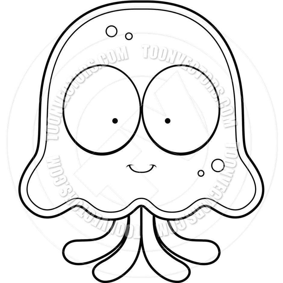 Cartoon Jellyfish Smiling (Black and White Line Art) by Cory ... for Clipart Jellyfish Black And White  557yll