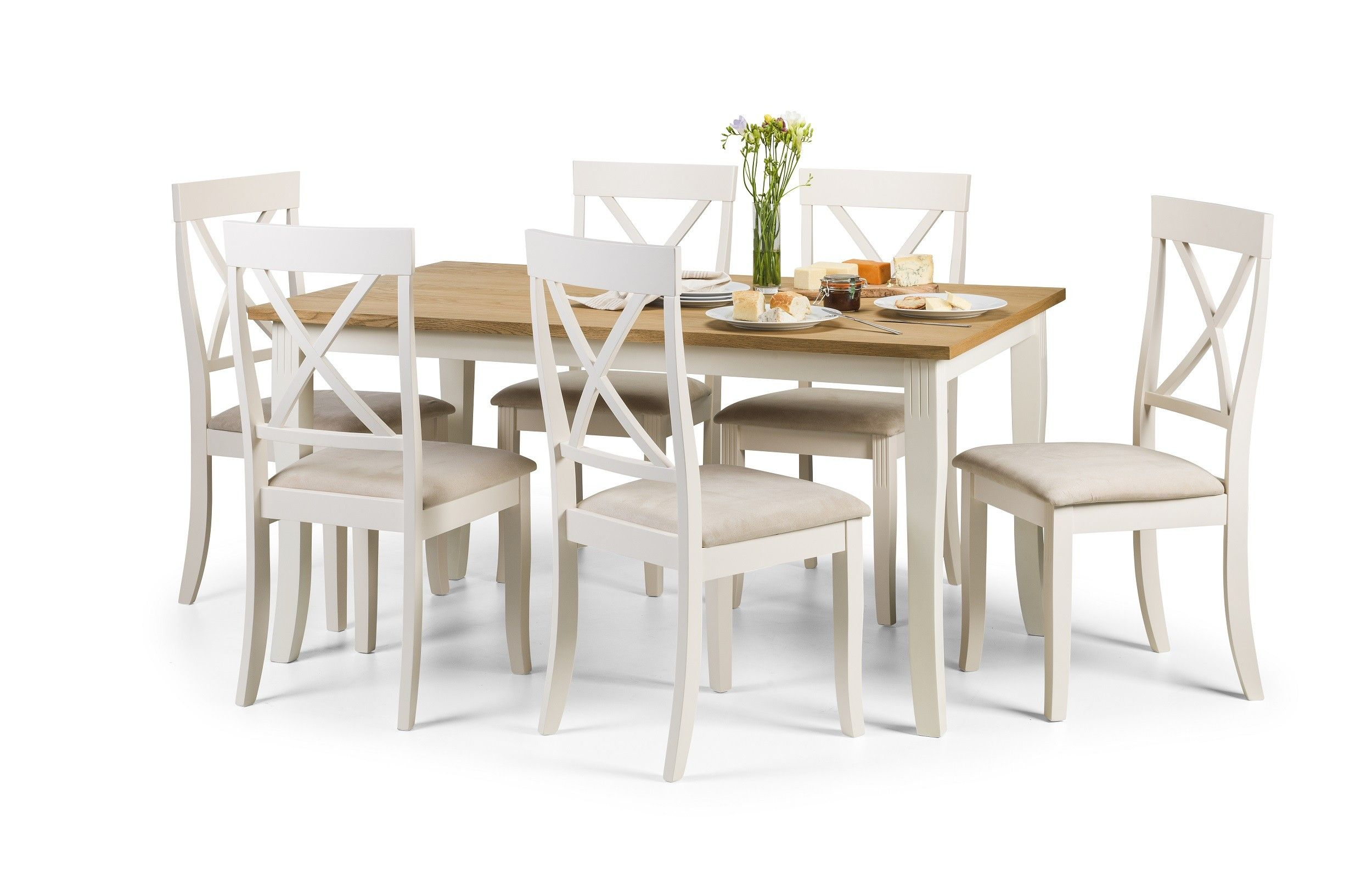 Buy The Daventry 150cm Oak And White Dining Table And Chairs At