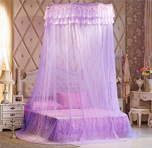 Round Hoop Double Lace Ruffle Princess Polyester Purple Bed Canopy Fit Crib Twin Full Queen King & Round Hoop Double Lace Ruffle Princess Polyester Purple Bed Canopy ...
