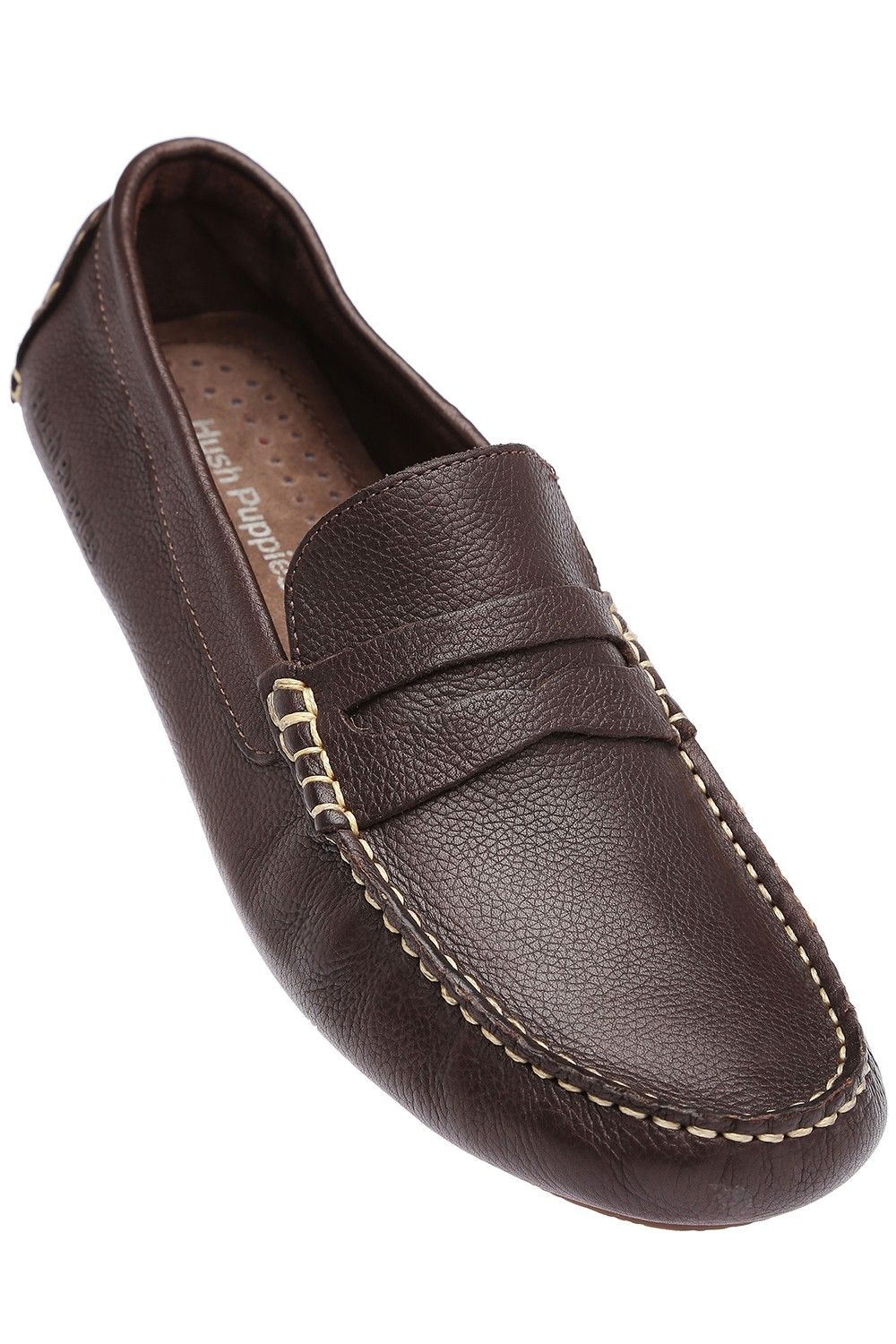 HUSH PUPPIES Mens Brown Leather Casual Slipon Shoe, S