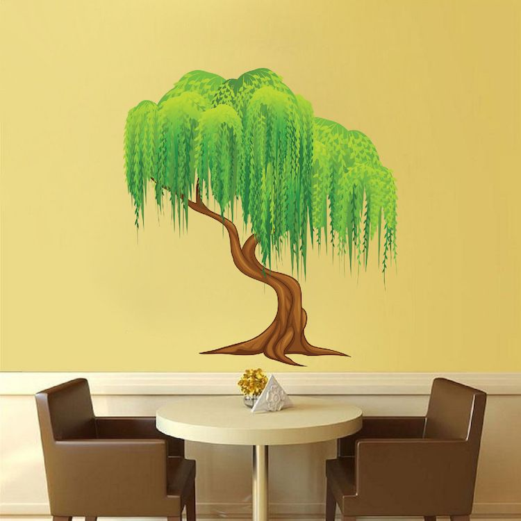 Weeping Willow Tree Mural Decal - Tree Wall Decals - Large Tree ...