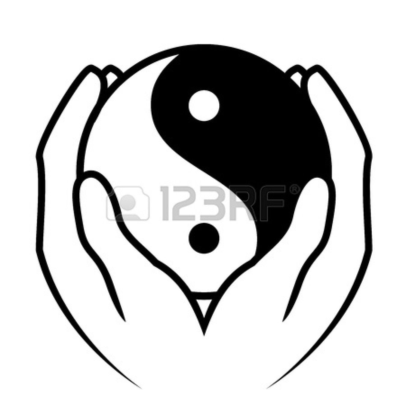 Vector illustration of hands holding yin yang symbol vector yin yin yang symbol with man and woman inside isolated over white biocorpaavc