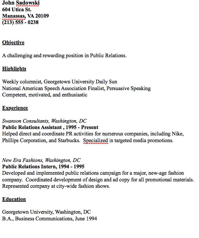 public relations resume example