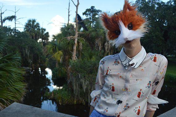 Imitación piel jengibre gato máscara hecho a mano por SpiritParade