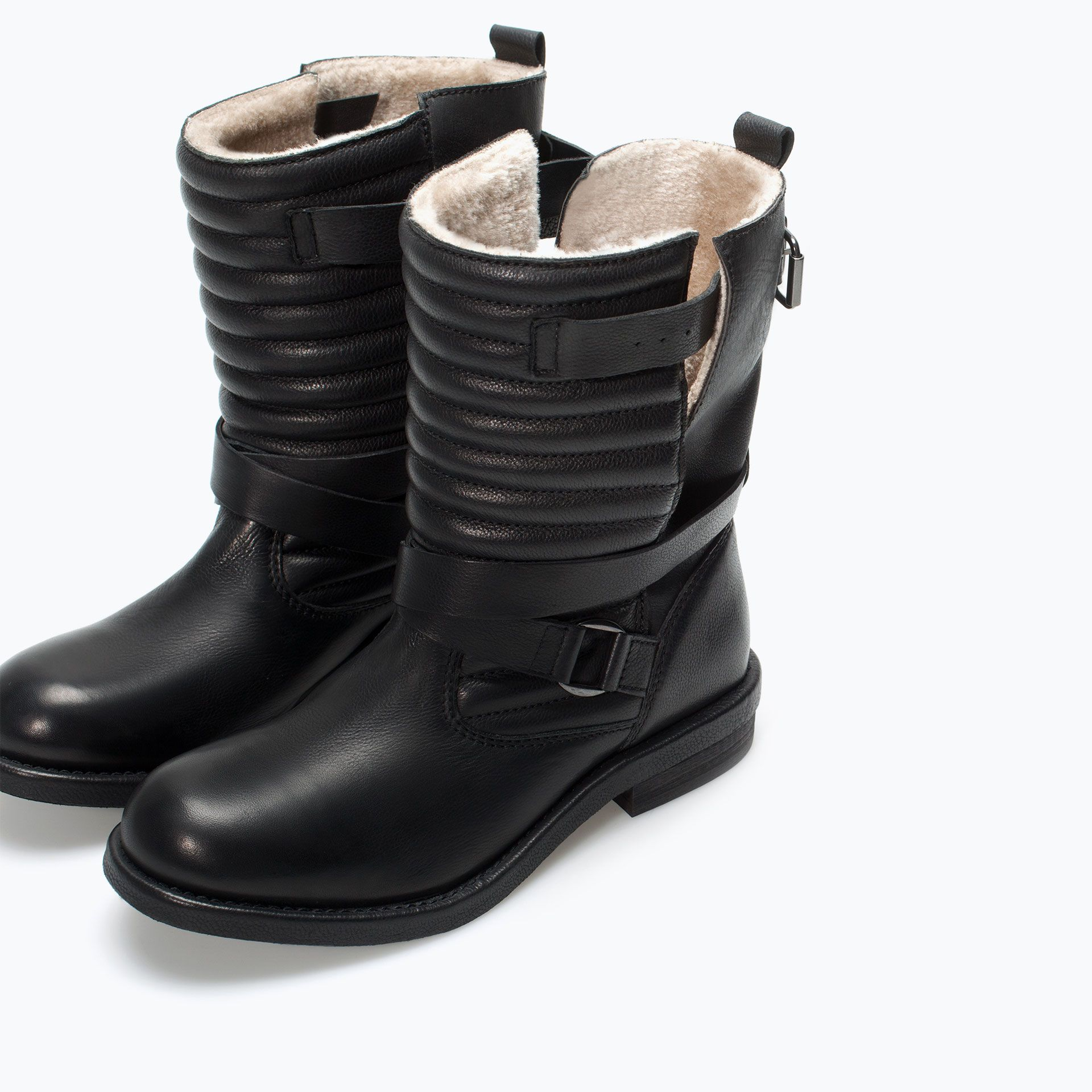 Image 4 of QUILTED LEATHER BIKER BOOT from Zara | Shoes ... : quilted biker boots - Adamdwight.com
