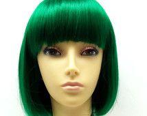 Green Short Bob Wig Straight w/ Bangs. Page Boy Wig. [08-46-PageBoy-DGreen]