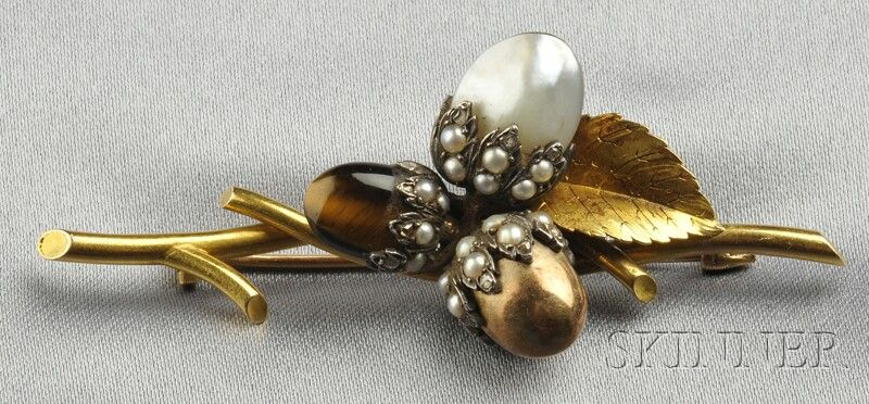 Antique Gold Acorn Brooch Leaf Jewelry Brooch Cheap