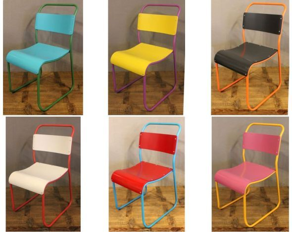 FUNKY STACKING CHAIRS IN BRIGHT COLOURS VINTAGE INDUSTRIAL STYLE