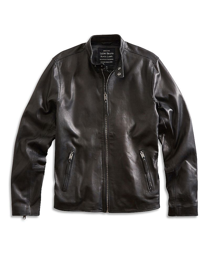 Clean Bonneville Leather Jacket Lucky Brand Cafe Racer Jacket Black Leather Jacket Men Leather Jacket