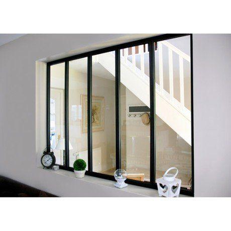 Verrière atelier aluminium noir, vitrage non fourni, H.1.08 x l.1.53 m